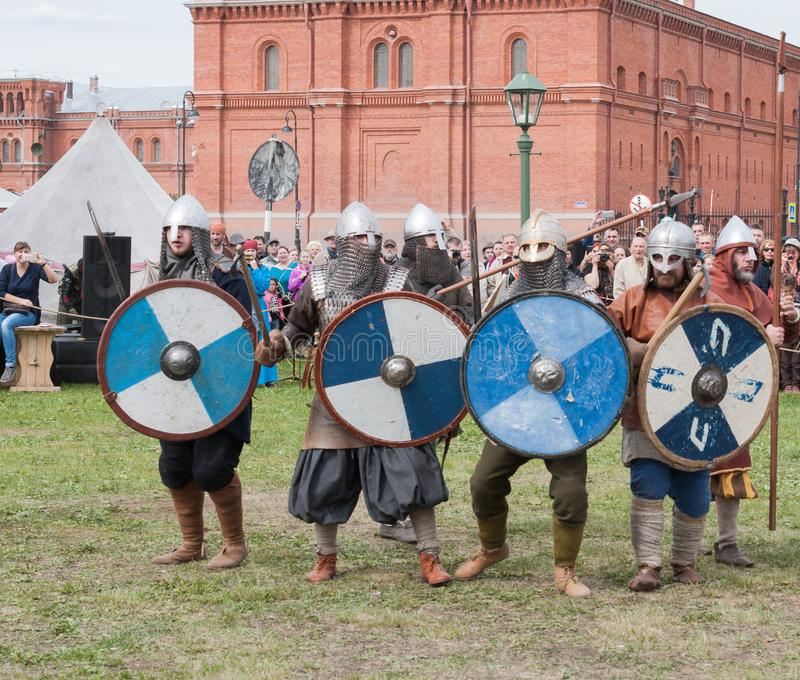 St. Petersburg, Russia - May 27, 2017: Historical reconstruction of the Battle of the Viking Festival in St. Petersburg, Russia royalty free stock images
