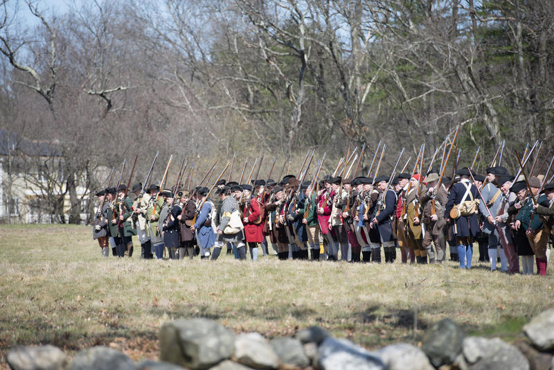 Historical Reenactment Events in Lexington, MA, USA. Historical Reenactment in the 242nd Anniversary of the Battles of Lexington and Concord to celebrate the royalty free stock image