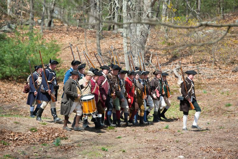 Historical Reenactment Events in Lexington, MA, USA. Historical Reenactment in the 242nd Anniversary of the Battles of Lexington and Concord to celebrate the stock photography
