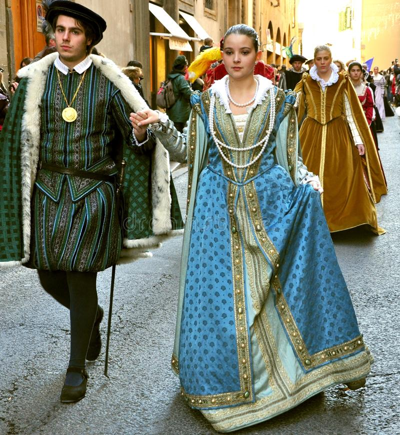 Historical reenactment in Italy. Historical reenactment parade with people in medieval costumes in Florence ,Italy stock photos
