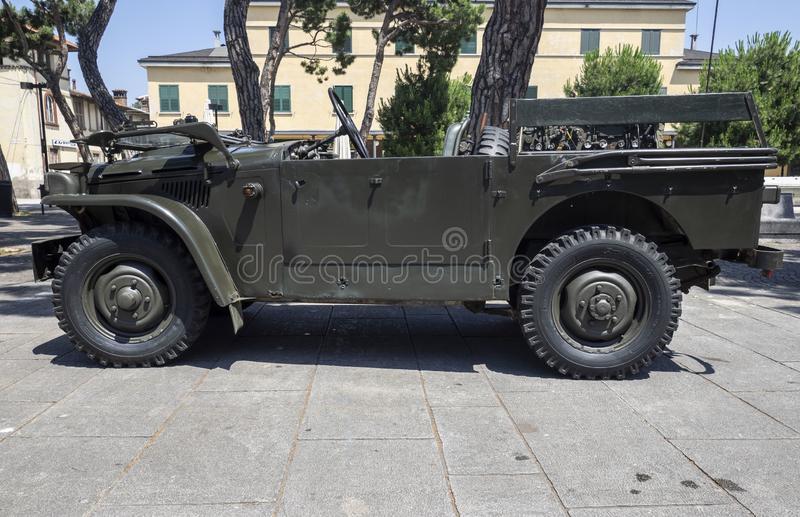 Historical car of the second world. Historical reenactment of the Second World War. Vintage jeep, lateral view royalty free stock photos