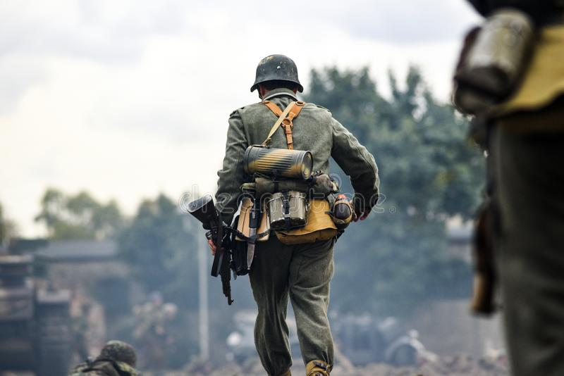Historical reenactment of soldiers during the Second World War, stock image