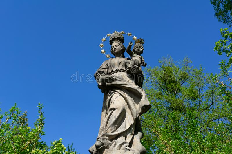 Historical religious statue of Virgin Mary with Jesus  Madonna royalty free stock photos