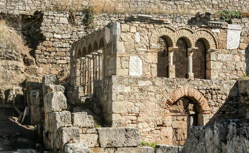 Historical remains with buildings. With detail royalty free stock photo