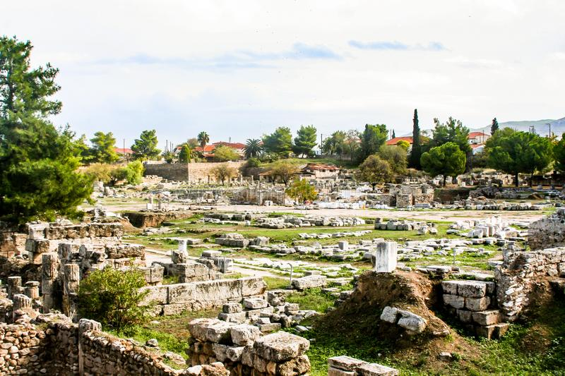 Historical remains of the city of Corinth. With detail royalty free stock photography