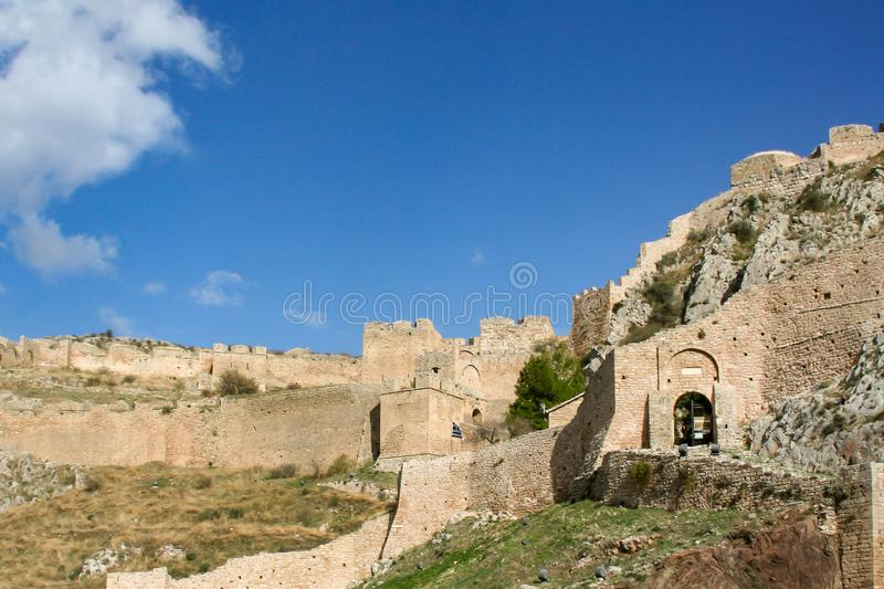 Historical remains on the mountain. With sunny sky royalty free stock images
