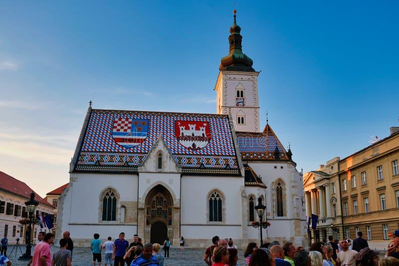 Church of Saint Mark, St Mark`s Square, Zagreb, Croatia. The historical Roman Catholic Church of Saint Mark, St Mark`s Square, Central Zagreb City, Croatia, on a stock image
