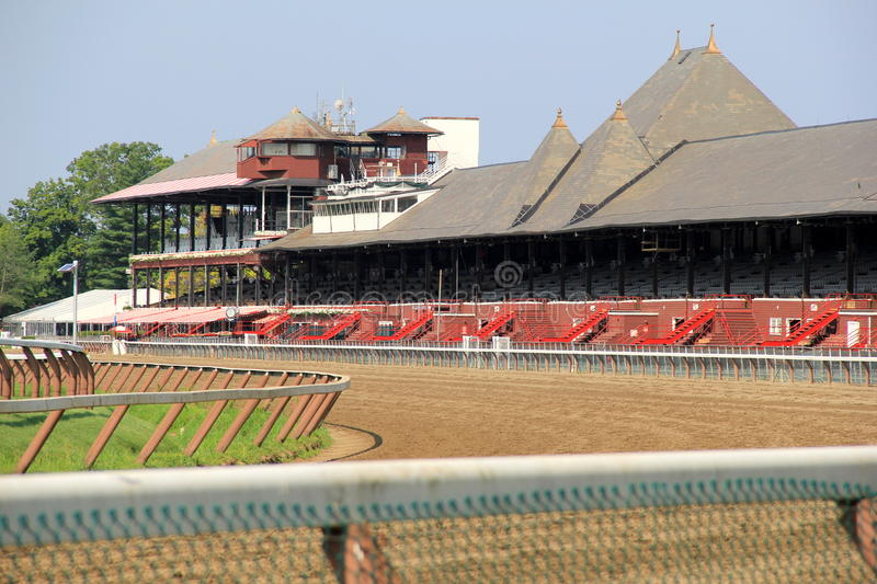 Historical Saratoga Race Track, getting ready for opening day,Saratoga,New York,2015 royalty free stock photos