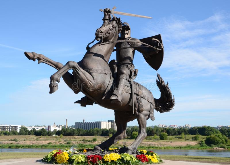 """Historical sculpture ,, Warrior of Freedom """"in Kaunas, Lithuania royalty free stock image"""