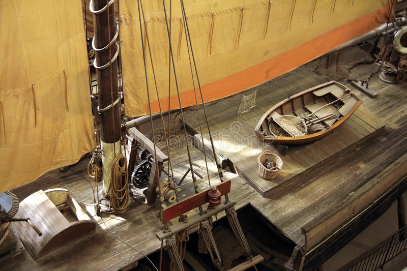 Historical ship deck. Historical sailing ship wooden deck stock images