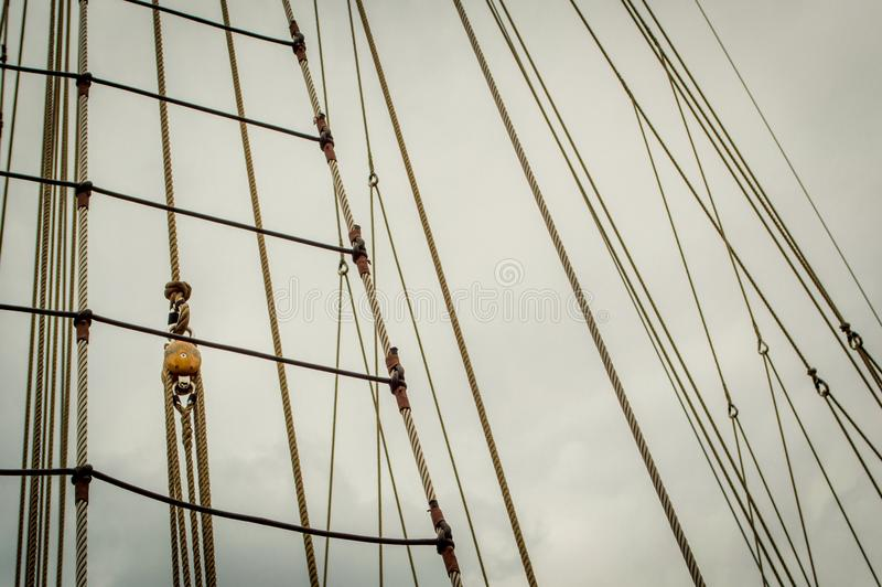 Historical Sailship Ropes Ready For Adventure Stock Image - Image of ...