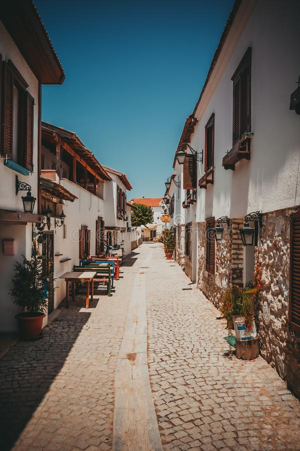 Historical Sigacik Village street view. Sigacik is populer tourist attraction in Turkey royalty free stock images