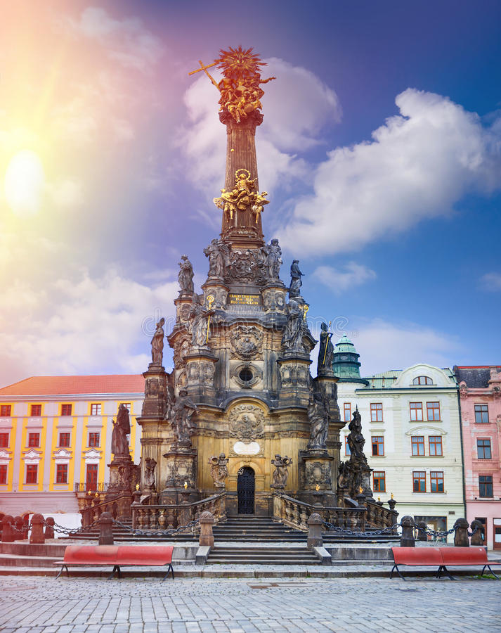 Historical sights of Olomouc in the Czech Republic. European city stock photography