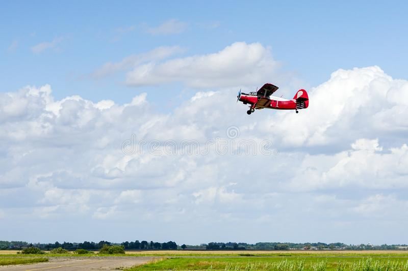 Historical single engine airplane Antonov AN2 in flight. Historical mass produced single engine airplane Antonov AN2 in flight stock photos