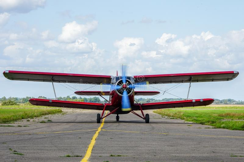 Historical single engine airplane Antonov AN2, front view. Historical mass produced single engine airplane Antonov AN2, front view stock photos