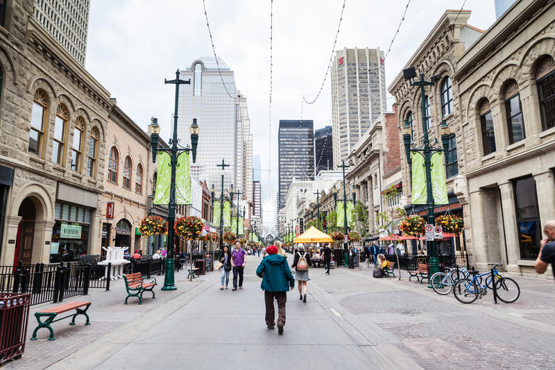 Historical Stephen Avenue in Downtown Calgary royalty free stock photo