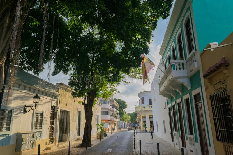 Historical street in the colonial city of Santo Domingo. This place is located in the Colonial Zone of Santo Domingo, Dominican Republic royalty free stock photos