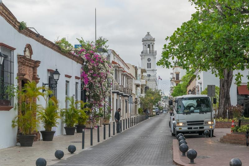 Historical street in the colonial city of Santo Domingo. This place is located in the Colonial Zone of Santo Domingo, Dominican Republic stock images