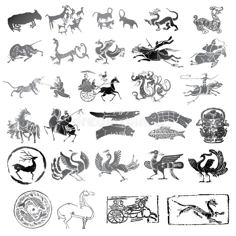 Historical symbols with different kind of animals stock photos