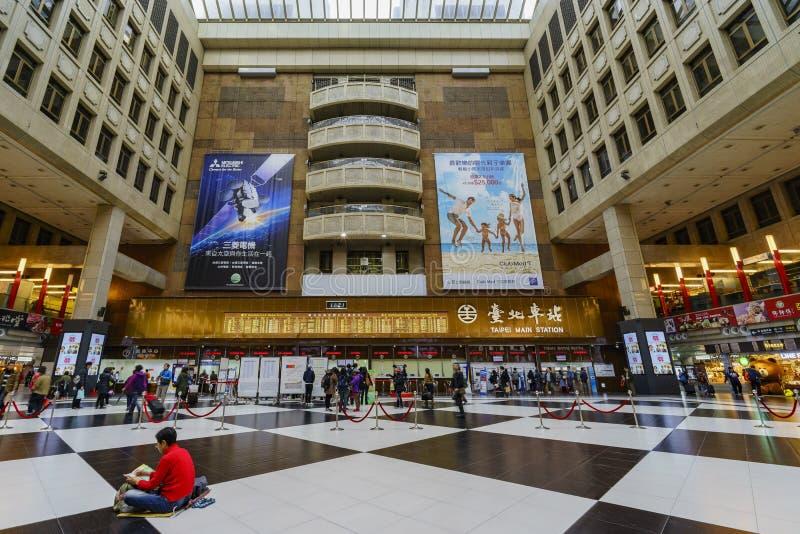 The historical Taipei Main Station. Taipei, DEC 28: The hall of Taipei Main Station on DEC 28, 2016 at Taipei, Taiwan stock image