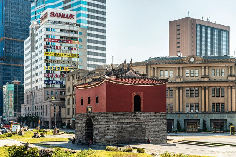 Historical Taipei North Gate, Taiwan. Taipei, Taiwan - Jan 16, 2018: Buildings around historical Taipei North Gate. It is traditional 2-story gatehouse built as royalty free stock images