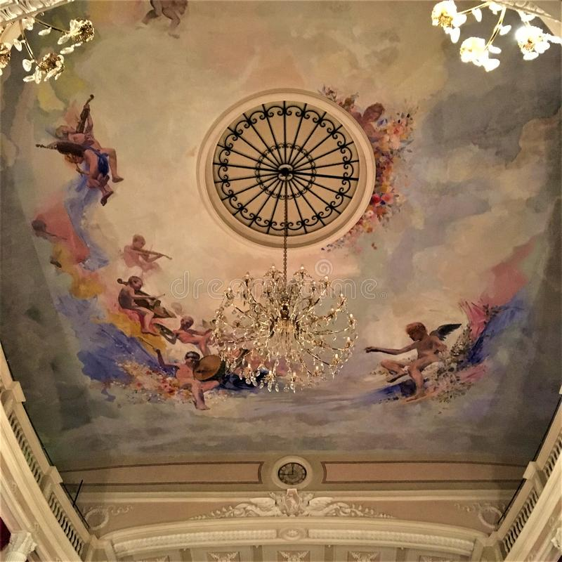 Historical theatre in Montelupone town, Marche region, Italy. Amusement, colours, frescoes and art. Historical theatre in Montelupone medieval town, Marche royalty free stock images