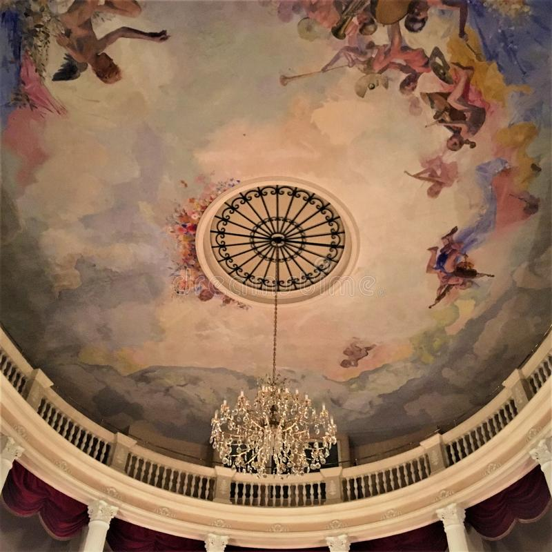 Historical theatre in Montelupone town, Marche region, Italy. Amusement, colours, frescoes and art. Historical theatre in Montelupone medieval town, Marche stock photos