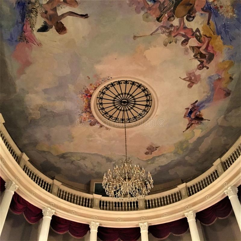 Historical theatre in Montelupone town, Marche region, Italy. Amusement, colours, frescoes and art. Historical theatre in Montelupone medieval town, Marche stock photo