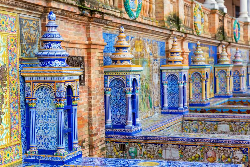 Historical tiled building exterior at the Plaza de Espana, Seville, Spain royalty free stock photo