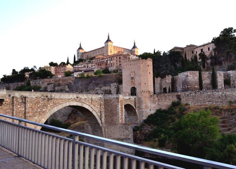 Historical Toledo view and Alcantara bridge over Tagus, Spain royalty free stock image