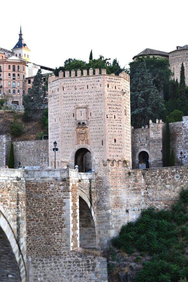 Historical Toledo view and Alcantara bridge over Tagus, Spain royalty free stock photos