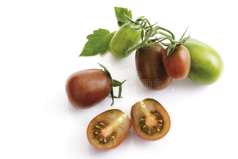 Historical tomatoes, Black Plum, close-up stock photo