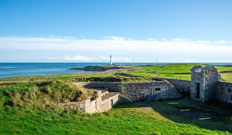 Historical Torry Battery at Nigg bay of North sea, Aberdeen, Scotland. November 2017 stock image