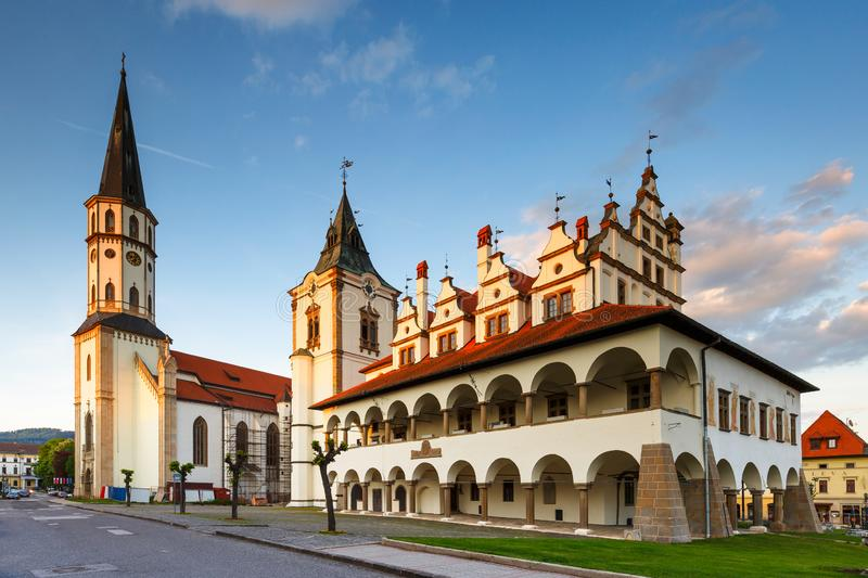 Levoca, Slovakia. Historical town hall and basilica of St James in Levoca, Slovakia stock images
