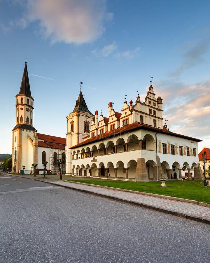 Levoca, Slovakia. Historical town hall and basilica of St James in Levoca, Slovakia stock image