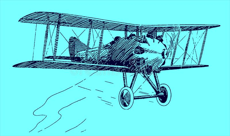 Historical two-seat sporting biplane. Illustration on a blue background after a lithography from the early 20th century. Editable. In layers vector illustration