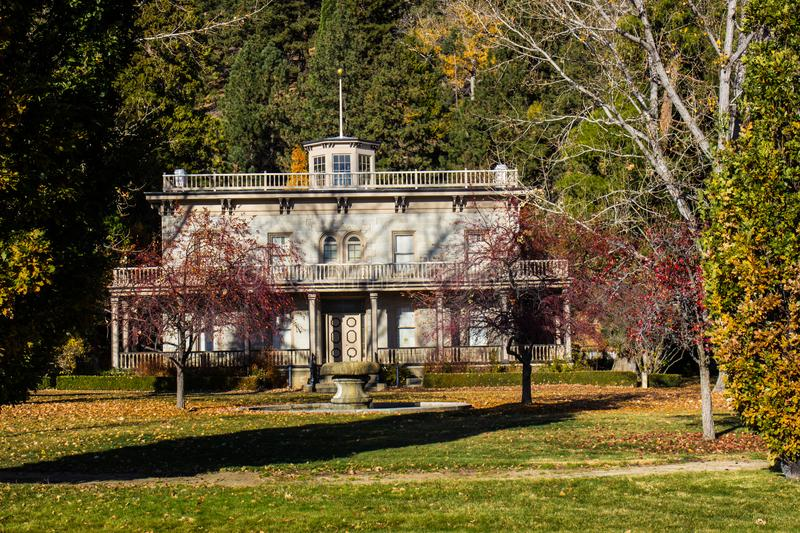 Historical Two Story Building In Fall. Historical Two Story Building With Fall Colors stock photo