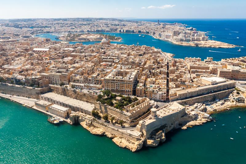 Historical Valetta, capital city of Malta, Grand harbour, Gzira and Sliema towns, Manoel Island in Marsamxett bay from above. Skyscraper in Paceville district stock photos