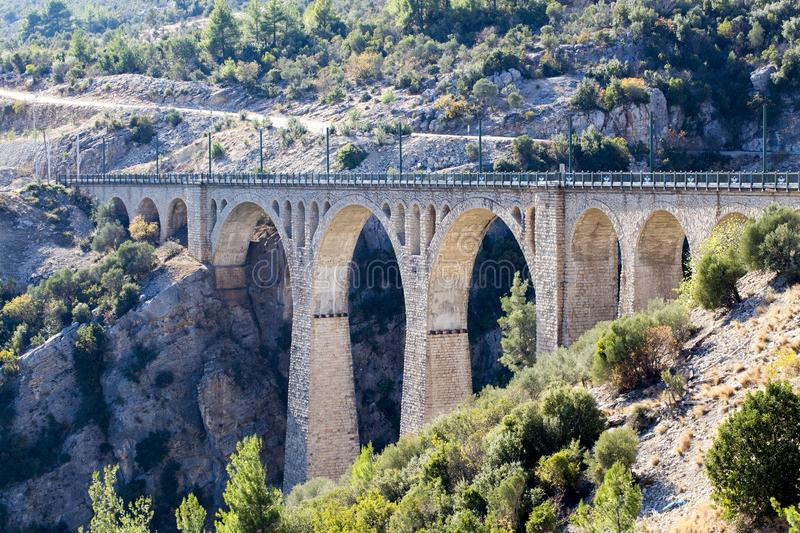 Historical Varda Bridge, Turkey / Adana. Travel concept photo.  stock photography