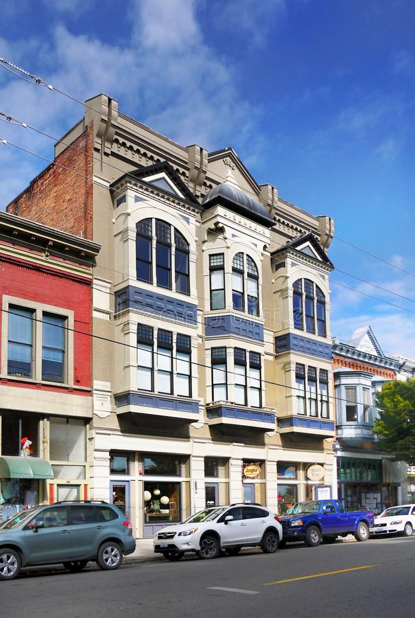 Historical Victorian Buildings, Port Townsend, Washington, USA. Historical Victorian buildings, downtown street view - Port Townsend, a city in Jefferson County stock image