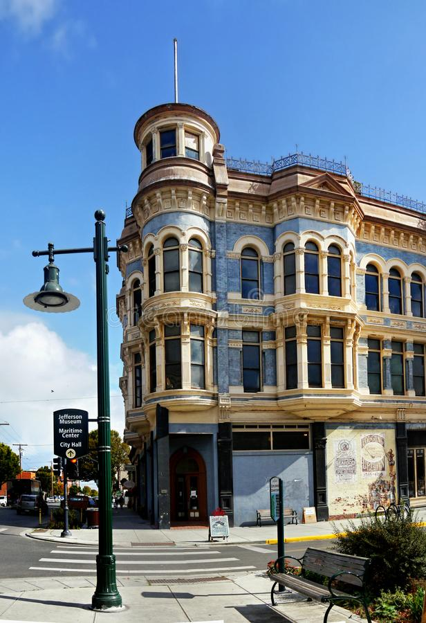 Historical Victorian Buildings, Port Townsend, Washington, USA. Historical Victorian - The Hastings Building, downtown street view - Port Townsend, a city in stock images