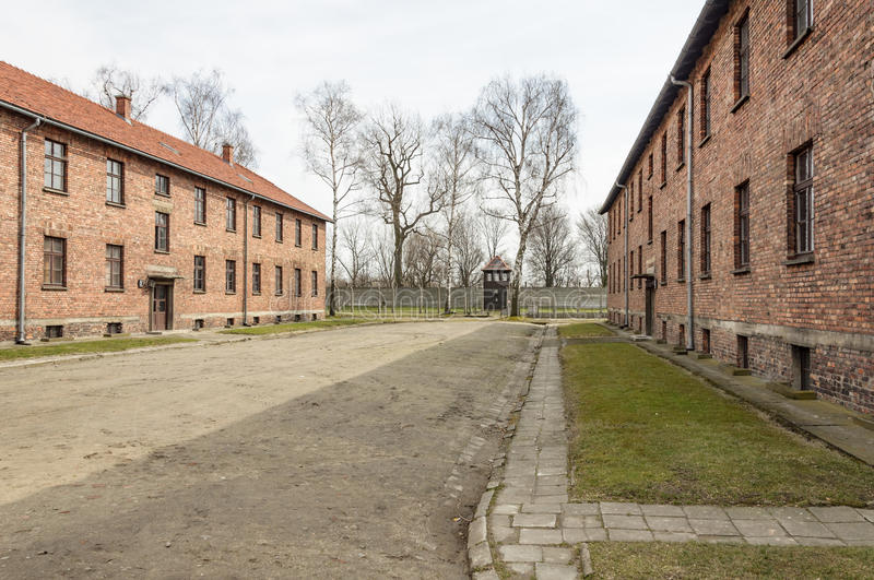 Historical view of Auschwitz death camp in color.  stock images
