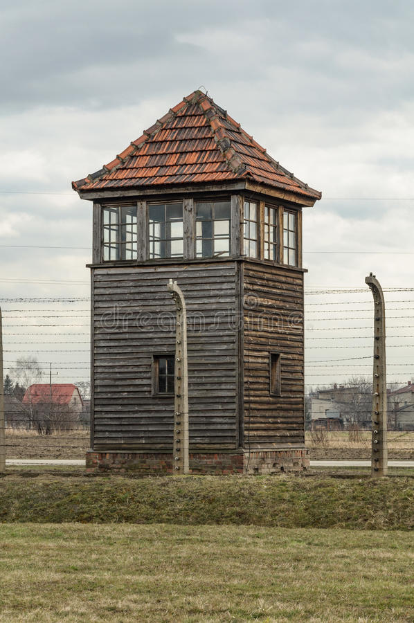 Historical view of Auschwitz death camp in color.  stock image