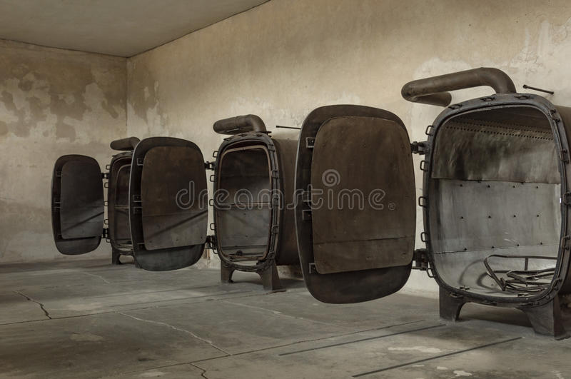 Historical view of Auschwitz death camp in color.  royalty free stock images