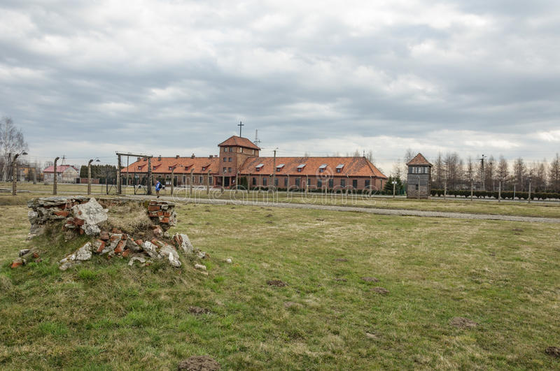 Historical view of Auschwitz death camp in color.  stock photo