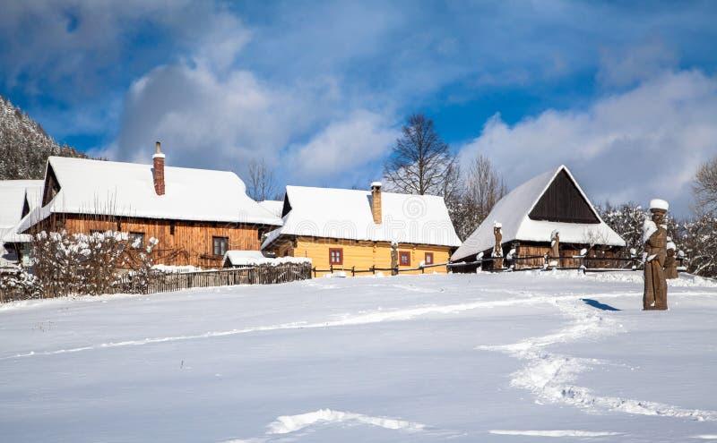 Historical village Vlkolinec, SLovakia stock images