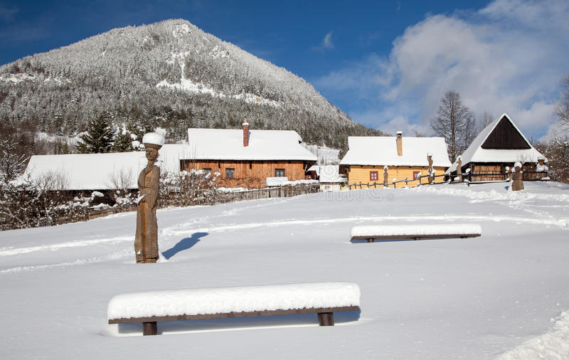 Historical village Vlkolinec, SLovakia stock photos