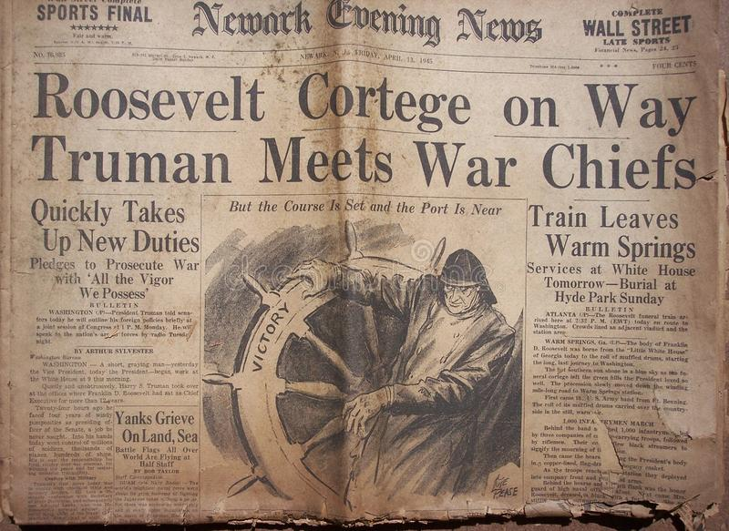 Historical World War Headlines royalty free stock image