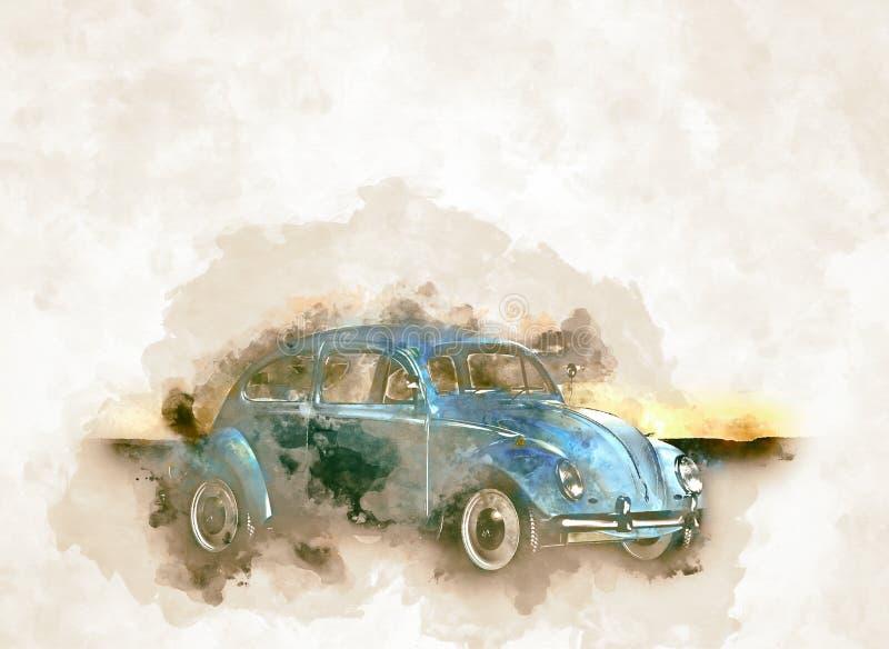 Historicaly汽车在葡萄酒水彩样式的VW甲虫 向量例证