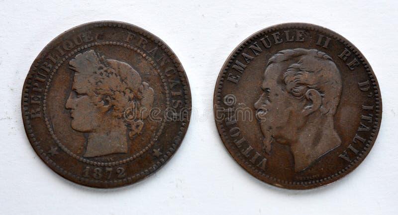 Historicka-Münzen - Frankreich und Italien lizenzfreie stockfotografie
